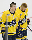 Kyle Bigos (Merrimack - 3), Jordan Heywood (Merrimack - 4) - The University of Notre Dame Fighting Irish defeated the Merrimack College Warriors 4-3 in overtime in their NCAA Northeast Regional Semi-Final on Saturday, March 26, 2011, at Verizon Wireless Arena in Manchester, New Hampshire.