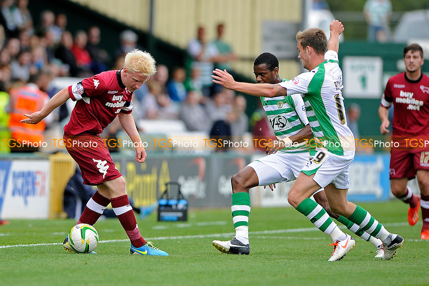 Will Hughes of Derby County shows his skills to Joe Ralls of Yeovil Town - Yeovil Town vs Derby County - Sky Bet Championship Football at Huish Park, Yeovil, Somerset - 24/08/13 - MANDATORY CREDIT: Denis Murphy/TGSPHOTO - Self billing applies where appropriate - 0845 094 6026 - contact@tgsphoto.co.uk - NO UNPAID USE