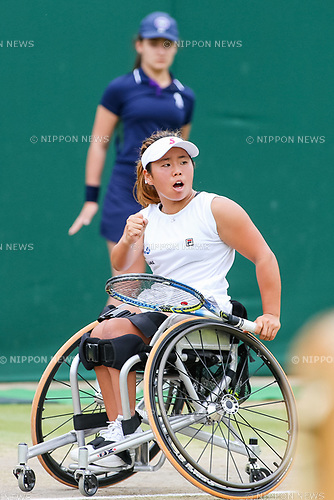 Yui Kamiji (JPN), JULY 16, 2017 - Tennis : Yui Kamiji of Japan reacts during the Women's wheelchair doubles final match of the Wimbledon Lawn Tennis Championships against Marjolein Buis and Diede De Groot of the Netherlands at the All England Lawn Tennis and Croquet Club in London, England. (Photo by AFLO)