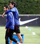 Atletico de Madrid's Koke Resurreccion (l) and Stefan Savic during training session. June 4,2020.(ALTERPHOTOS/Atletico de Madrid/Pool)