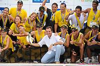RIO DE JANEIRO, RJ, 12 DE FEVEREIRO DE 2012 - CARNAVAL RIO 2012 - O Prefeito Eduardo Paes, na entrega dos prêmios da corrida que marco a abertura oficial do novo Sambódromo do Rio, que também será utilizado nos Jogos Olímpicos, e que após reformas recebeu o traçado original projetado por Oscar Niemeyer há quase 30 anos. <br /> FOTO GLAICON EMRICH - NEWS FREE
