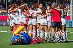 ANTWERPEN - Spanje wint de troostfinale om de derde plaats na shoot outs  , dames  Spanje-Engeland (1-1) bij het Europees kampioenschap hockey.  ANP KOEN SUYK