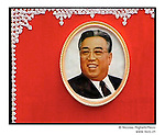 NR00764 /  Portrait of Kim Il Sung, exposed for the annual anniversary of his birth 15 April. Although he deceased in 1994, he remains the President for Life of North Korea. This year North Koreans will celebrate the 10th anniversary of his death.....Portrait de Kim Il Sung, utilisee pour la celebration annuelle de son anniversaire. Bien qu'il soit decede en 1994, il demeure le President a Vie de la Coree du Nord. Cette annee, les Nord-Coreens celebrerons le 10eme anniversaire de sa mort...Pyongyang, Coree du Nord, Septembre 2001..©Nicolas Righetti/Rezo