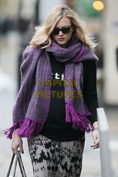 Fearne Cotton arrives for work, London, England..November 20th, 2012.half length pink purple scarf sunglasses shades hand arm black top white pattern print trousers tie dye pregnant .CAP/HIL.©John Hillcoat/Capital Pictures .