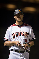 Salt River Rafters hitting coach Shelley Duncan (18), of the Arizona Diamondbacks organization, during an Arizona Fall League game against the Scottsdale Scorpions at Salt River Fields at Talking Stick on October 11, 2018 in Scottsdale, Arizona. Salt River defeated Scottsdale 7-6. (Zachary Lucy/Four Seam Images)