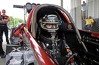 May 10, 2013; Commerce, GA, USA: NHRA top fuel dragster driver Spencer Massey during qualifying for the Southern Nationals at Atlanta Dragway. Mandatory Credit: Mark J. Rebilas-
