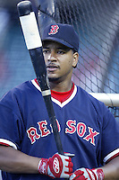 Manny Ramirez of the Boston Red Sox before a 2002 MLB season game against the Los Angeles Angels at Angel Stadium, in Anaheim, California. (Larry Goren/Four Seam Images)