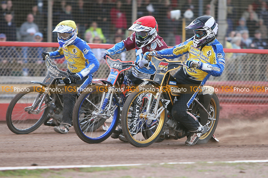 Heat 9: Lewis Bridger (tactical), Davey Watt (red) and Denis Gizatullin - Lakeside Hammers vs Eastbourne Eagles - Sky Sports Elite League Speedway at Arena Essex Raceway, Purfleet - 06/04/12 - MANDATORY CREDIT: Gavin Ellis/TGSPHOTO - Self billing applies where appropriate - 0845 094 6026 - contact@tgsphoto.co.uk - NO UNPAID USE.