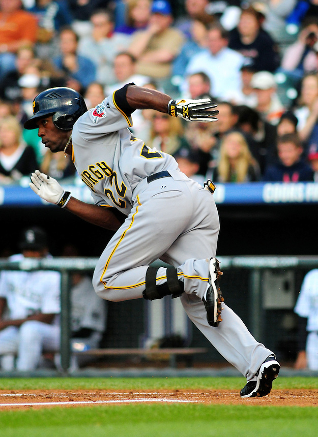 June 20, 2009: Pirates outfielder National League Rookie of the Year candidate Andrew McCutchen during a game between the Pittsburgh Pirates and the Colorado Rockies at Coors Field in Denver, Colorado.