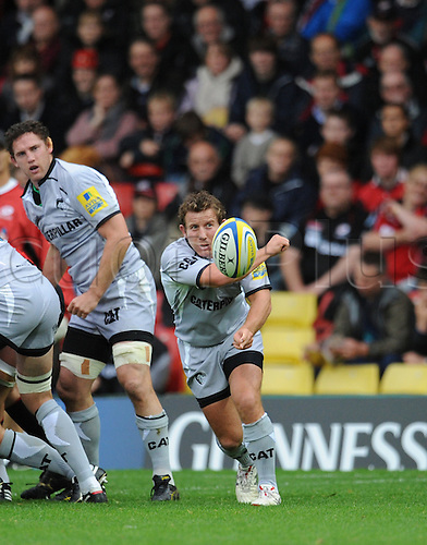 03.10.2010 Aviva Premiership Rugby from Vicarage Road Saracens v Leicester Tigers. James Grindal passes from the base of the scrum in Leicesters 26-20 loss to Saracens