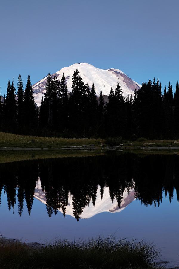 Mount Rainier reflected in Tipsoo Lake on a calm dawn, Mount Rainier National Park, Washington, USA