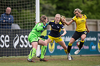 Charlotte Kerr of Watford Ladies scores the winning goal past Goalkeeper Demi Lambourne during the FAWSL2 spring series match between Oxford United Women and Watford Ladies at The NorthCourt, Abingdon FC, England on 30 April 2017. Photo by Andy Rowland.