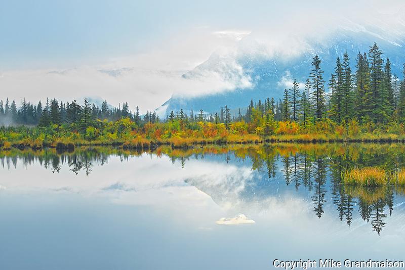 Vermillion Lakes shrouded in fog <br />Banff National Park<br />Alberta<br />Canada