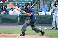June 20th 2008:  NY-Penn League umpire Joey Amaral during a game at Frontier Field in Rochester, NY - home of the Rochester Red Wings.  Photo by:  Mike Janes/Four Seam Images