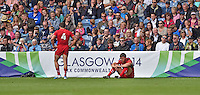 Wales's Luke Morgan, left, with team Adam Thomas look dejected at the final whistle<br /> <br /> Australia Vs Wales - Men's quarter-final<br /> <br /> Photographer Chris Vaughan/CameraSport<br /> <br /> 20th Commonwealth Games - Day 4 - Sunday 27th July 2014 - Rugby Sevens - Ibrox Stadium - Glasgow - UK<br /> <br /> © CameraSport - 43 Linden Ave. Countesthorpe. Leicester. England. LE8 5PG - Tel: +44 (0) 116 277 4147 - admin@camerasport.com - www.camerasport.com