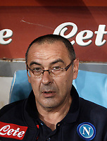 Calcio, Serie A: Napoli, stadio San Paolo, 21 ottobre 2017.<br /> Napoli's coach Maurizio Sarri waits for the start of the during the Italian Serie A football match between Napoli and Inter at Napoli's San Paolo stadium, October 21, 2017.<br /> UPDATE IMAGES PRESS/Isabella Bonotto
