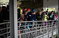 Luka Mezgec (SLO/Mitchelton - Scott) & colleagues queuing to bring him back down off the mountain after finishing the stage where the weather turned foul in the finale<br /> <br /> Stage 9: Andorra la Vella to Cortals d'Encamp (94km) - ANDORRA<br /> La Vuelta 2019<br /> <br /> ©kramon