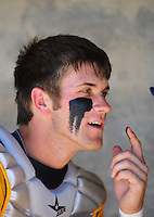 May 31, 2010; Grand Junction, CO, USA; Southern Nevada Coyotes catcher Bryce Harper applies eye black prior to the game against the Faulkner State Sun Chiefs during the Junior College World Series as Suplizio Field. Southern Nevada won the game 18-1. Mandatory Credit: Mark J. Rebilas-
