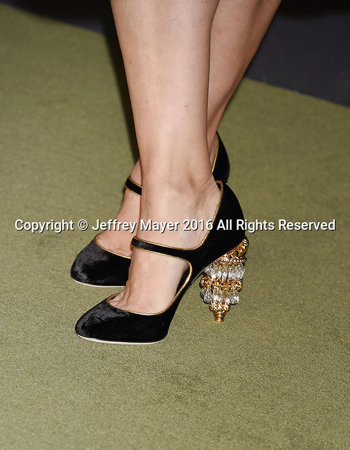 LOS ANGELES, CA - OCTOBER 29: Actress Jennifer Tilly, shoe detail, at the 2016 LACMA Art + Film Gala honoring Robert Irwin and Kathryn Bigelow presented by Gucci at LACMA on October 29, 2016 in Los Angeles, California.