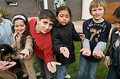 Children with worms at a composting session at Greenside Community Centre, Lisson Green