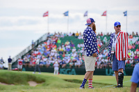 Two American fans stand along 18 during Friday's round 2 of the 117th U.S. Open, at Erin Hills, Erin, Wisconsin. 6/16/2017.<br /> Picture: Golffile | Ken Murray<br /> <br /> <br /> All photo usage must carry mandatory copyright credit (&copy; Golffile | Ken Murray)
