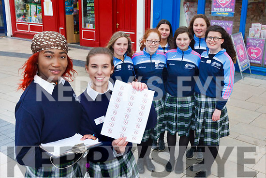 Students from Presentation Secondary, Tralee raising awareness about Lyme disease in the Square, Tralee on Friday afternoon. Pictured at the front were: Marie Blanche and Niamh Rahilly. At the back were: Amy O'Sullivan, Ruth O'Connell, Laura Scanlon, Aine O'Sullivan, Natasha Tobin and Mary O'Connell.