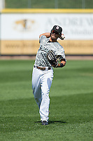 Jacob May (20) of the Birmingham Barons warms up in the outfield prior to the game against the Tennessee Smokies at Regions Field on May 3, 2015 in Birmingham, Alabama.  The Smokies defeated the Barons 3-0.  (Brian Westerholt/Four Seam Images)