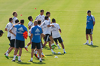 Players with the new coach, Carlo Ancelotti, during Real Madrid´s first training session of 2013-14 seson. July 15, 2013. (ALTERPHOTOS/Victor Blanco) ©NortePhoto