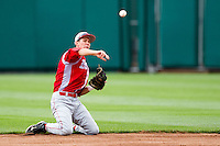 David Compitello (8) of the Bradley Braves makes a play from his knees during a game against the Missouri State Bears on May 13, 2011 at Hammons Field in Springfield, Missouri.  Photo By David Welker/Four Seam Images