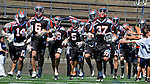 24 August 2008: The Denver Outlaws take the field prior to facing the Rochester Rattlers at the Championship Game of the Major League Lacrosse Championship Weekend at Harvard Stadium in Boston, MA. The Rattles took control of the second half and defeated the Outlaws 16-6 to take the league honor for the 2008 season...Mandatory Photo Credit: Ed Wolfstein Photo