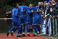 Shad Ngandu of Aveley scores the first goal for his team and celebrates during Hornchurch vs Aveley, Buildbase FA Trophy Football at Hornchurch Stadium on 11th January 2020