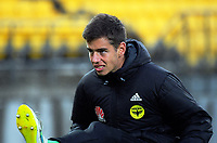 Phoenix assistant goalie Keegan Smith warms up during the A-League football match between Wellington Phoenix and Melbourne Victory at Westpac Stadium in Wellington, New Zealand on Friday, 10 January 2018. Photo: Dave Lintott / lintottphoto.co.nz