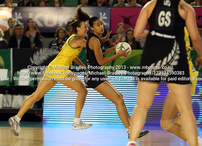 07.10.2013 Silver Fern Maria Tutaia in action during the Silver Ferns V Australian Diamonds Netball Series played at the Rod Laver Arena in Melbourne Australia. Mandatory Photo Credit ©Michael Bradley.