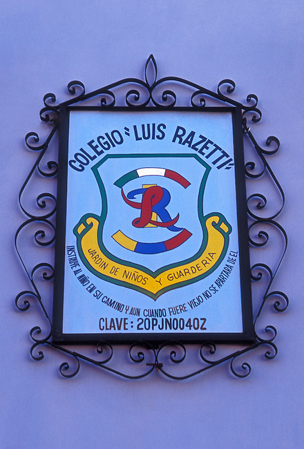 Sign for school, Oaxaca, Oaxaca State, Mexico, North America