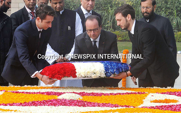 25.01.2016; Delhi, India: PRESIDENT HOLLANDE OF FRANCE<br /> lays a wreath at the Samadhi of Mahatma Gandhi, at Rajghat, in Delhi.<br /> The French President in the guest of honour for the Republic Day celebrations on the 26th of January 2016.<br /> Mandatory Credit Photos: &copy;NEWSPIX INTERNATIONAL<br /> <br /> PHOTO CREDIT MANDATORY!!: NEWSPIX INTERNATIONAL(Failure to credit will incur a surcharge of 100% of reproduction fees)<br /> <br /> IMMEDIATE CONFIRMATION OF USAGE REQUIRED:<br /> Newspix International, 31 Chinnery Hill, Bishop's Stortford, ENGLAND CM23 3PS<br /> Tel:+441279 324672  ; Fax: +441279656877<br /> &quot;All fees payable to &quot;Newspix International&quot;<br /> e-mail: info@newspixinternational.co.uk