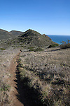 A hiking trail along a cliff above the Pacific Ocean in Point Mugu State Park, north of Malibu, California, USA