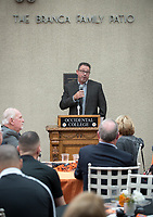 Head football coach Rob Cushman<br /> Occidental College alumni, staff and other members of the Oxy community gather in support of the football program, March 10, 2018 on Branca Patio.<br /> In January 2018 a 16-member task force of trustees, faculty, students, staff and alumni met to determine the fate of the football program in the wake of the premature end of the 2017 season. The College is moving full speed ahead with preparations for the 2018 season, led by the Football Action Team.<br /> (Photo by Marc Campos, Occidental College Photographer)
