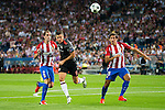 Atletico de Madrid's players Diego Godín and Stefan Savic and Bayern Munich's player Robert Lewandowski during match of UEFA Champions League at Vicente Calderon Stadium in Madrid. September 28, Spain. 2016. (ALTERPHOTOS/BorjaB.Hojas)