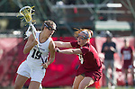 Los Angeles, CA 02/08/13 - Gabriella Flibotte  (Northwestern #19) and Courtney McGrath  (Umass #9) in action during the Northwestern vs UMass NCAA Women's Lacrosse game at USC's McAlister Field.