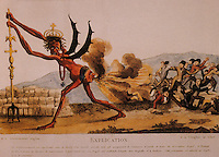 """French Revolution:  """"The English Government"""" Jacques-Louis David, 1793-1794. English government as devil with asshole of George III, shitting taxes, militant republican. Reference only."""