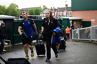Byron Field, Emma Hill and the rest of Bath Rugby arrive at Welford Road. Gallagher Premiership match, between Leicester Tigers and Bath Rugby on May 18, 2019 at Welford Road in Leicester, England. Photo by: Patrick Khachfe / Onside Images