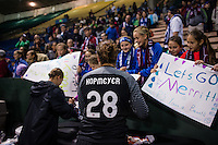 Seattle, Washington -  Sunday, September 11 2016: Seattle Reign FC goalkeeper Haley Kopmeyer (28) greets fans after regular season National Women's Soccer League (NWSL) match between the Seattle Reign FC and the Washington Spirit at Memorial Stadium. Seattle won 2-0.