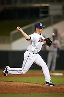 Fort Myers Miracle relief pitcher Trevor Hildenberger (12) delivers a pitch during a game against the Brevard County Manatees on April 13, 2016 at Hammond Stadium in Fort Myers, Florida.  Fort Myers defeated Brevard County 3-0.  (Mike Janes/Four Seam Images)