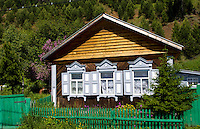 Wooden houses with shutters, Listvyanka near  Irkutsk, Siberia, Russia