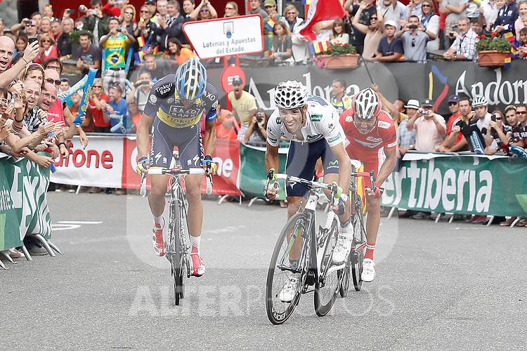 Alberto Contador (l), Joaquin Purito Rodriguez (r) and Alejandro Valverde during the stage of La Vuelta 2012 between Lleida-Lerida and Collado de la Gallina (Andorra).August 25,2012. (ALTERPHOTOS/Acero)