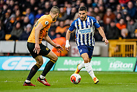 7th March 2020; Molineux Stadium, Wolverhampton, West Midlands, England; English Premier League, Wolverhampton Wanderers versus Brighton and Hove Albion; Neal Maupay of Brighton & Hove Albion runs at Conor Coady of Wolverhampton Wanderers