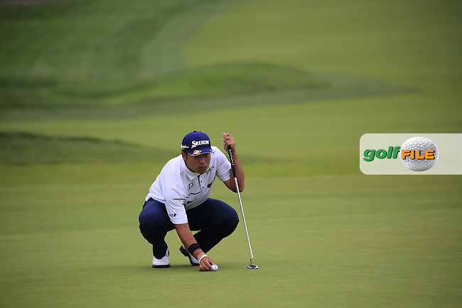 Hideki Matsuyama (JPN) on the 2nd green during Friday's Round 1 of the 2016 U.S. Open Championship held at Oakmont Country Club, Oakmont, Pittsburgh, Pennsylvania, United States of America. 17th June 2016.<br /> Picture: Eoin Clarke | Golffile<br /> <br /> <br /> All photos usage must carry mandatory copyright credit (&copy; Golffile | Eoin Clarke)