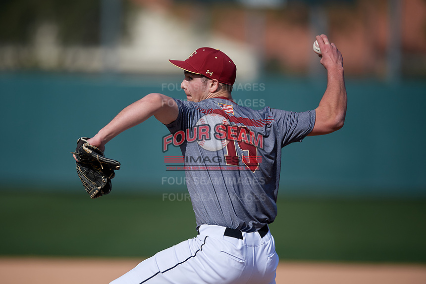 Micah Root during the Under Armour All-America Pre-Season Tournament, powered by Baseball Factory, on January 19, 2019 at Fitch Park in Mesa, Arizona.  Micah Root is a third baseman / right handed pitcher from Susanville, California who attends Mt. View Baptist Academy.  (Mike Janes/Four Seam Images)
