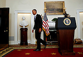 United States President Barack Obama departs after delivering a statement on the relations between US and Iran, including the implementation of the Iranian Arms Deal, release of the US hostages that were held in Iran, and new US sanctions over their development of ballistic missiles in violation of UN resolutions, in the Cabinet Room of the White House on January 17, 2016. <br /> Credit: Aude Guerrucci / Pool via CNP
