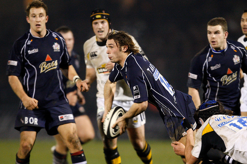 Photo: Richard Lane/Richard Lane Photography..Bristol Rugby v London Wasps. Guinness Premiership. 22/12/2007. .Bristol's Tom Arscott passes out of the tackle.